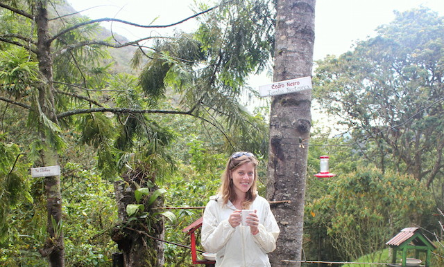Hot chocolate in Acaime Reserve in the Cocora Valley, Colombia