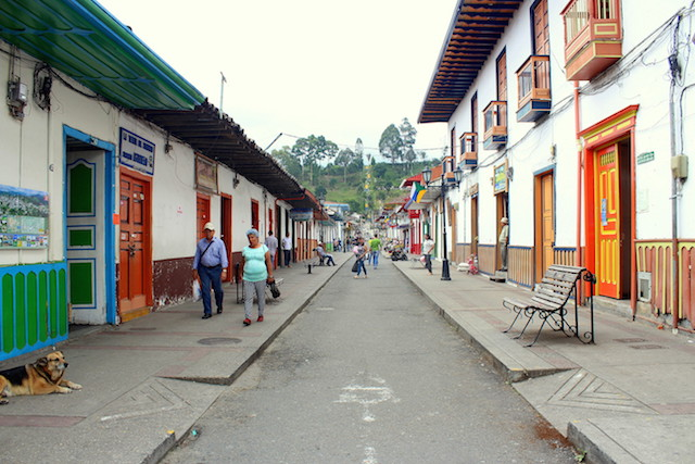 Calle real, a colorful street in Salento, Colombia