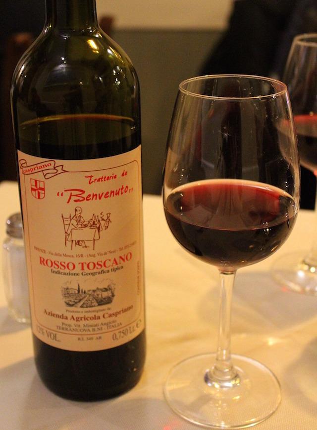 Local wine at Trattoria Da Benvenuto in Florence