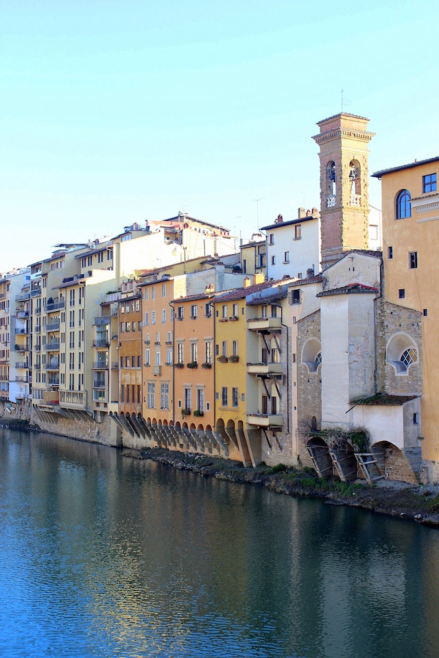 Old houses overlooking the river in Florence