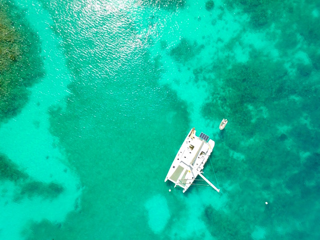 Drone picture of Mustique island