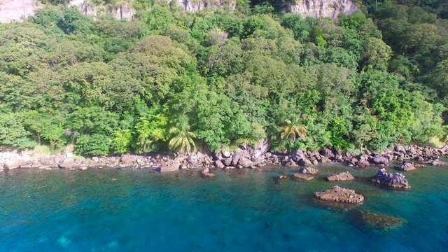 Drone view of Canouan in the Grenadine islands