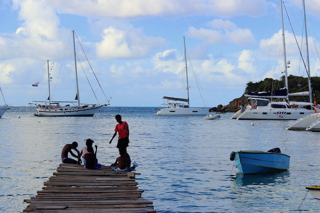 Beach life in Mayreau island, the Grenadines