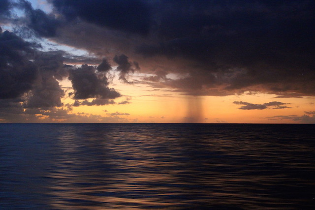 Storm over the ocean while sailing from the Grenadines to Saint Lucie
