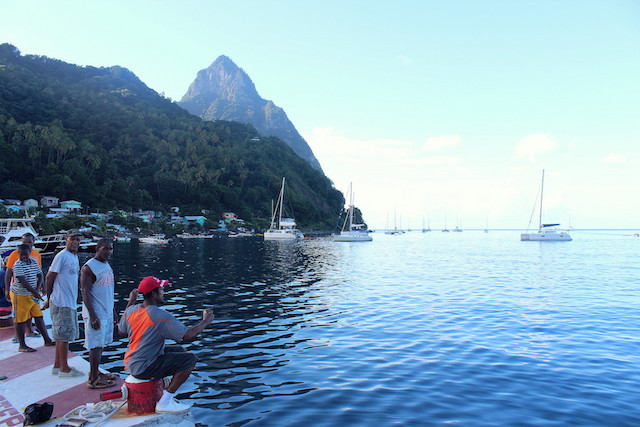 Fishermen at work in La Soufrière, St. Lucia