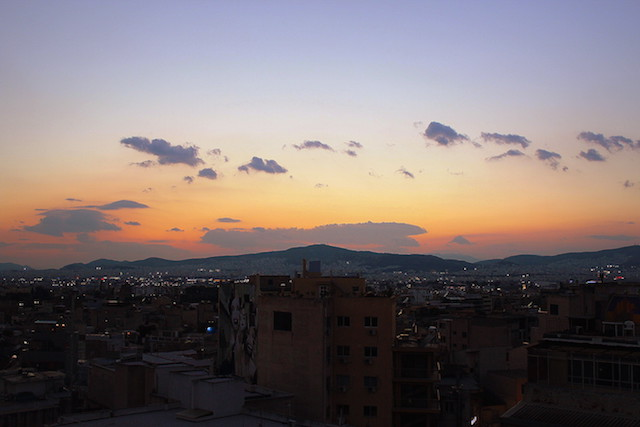 Sunset view over Athens from the Attalos hotel rooftop