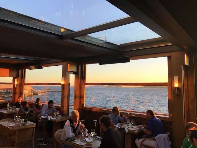 Sunset view from the Restaurant Peron in Marseille, France