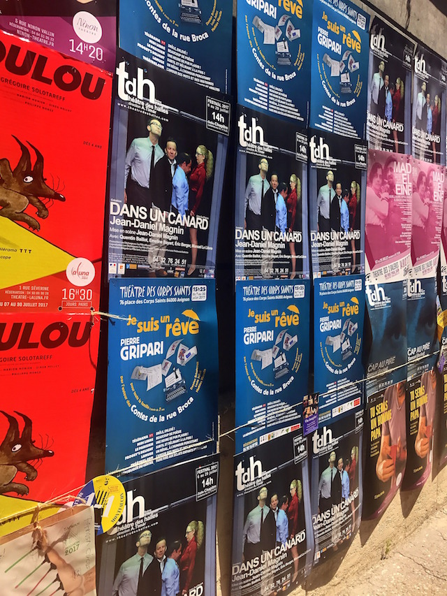 Posters in the street from the Festival Off Avignon