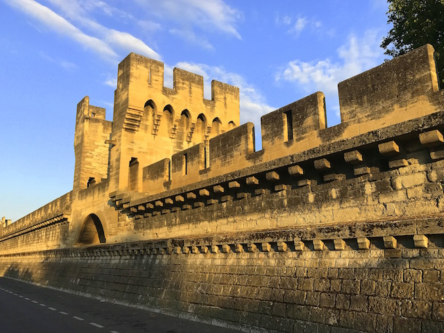 The ancient wall of the medieval city of Avignon in France