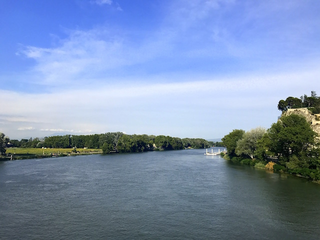 View over the Rhone river from Avignon bridge