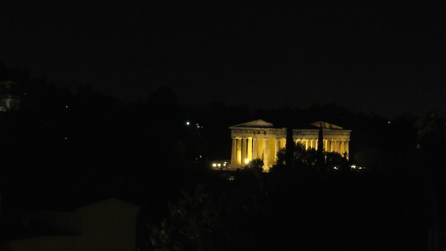 View of the Temple of Hephaestus at nigh from 360 Cocktail Bar
