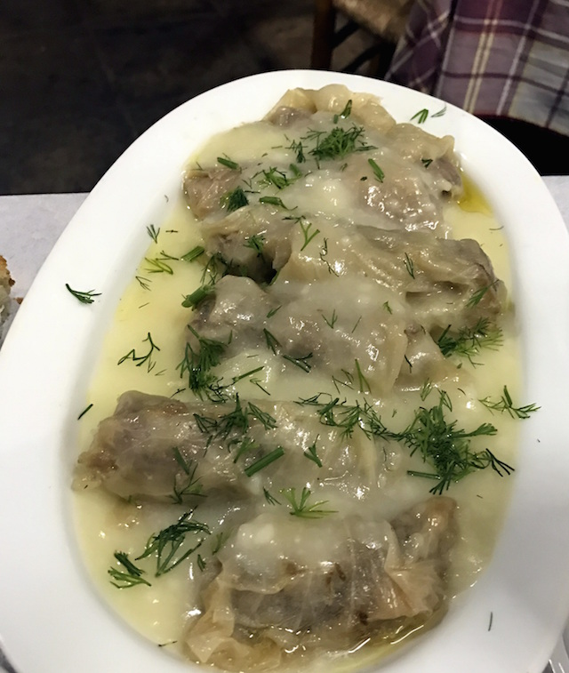 Cabbage leaves with meat at Evgenia restaurant in Athens