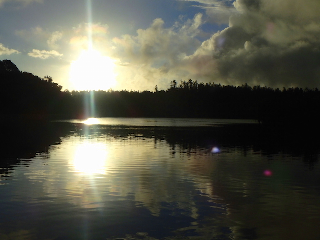 Sunset on the Grand Bassin in Mauritius