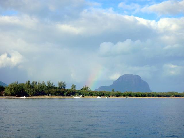 Rainbow over Le Morne mountain in Mauritius