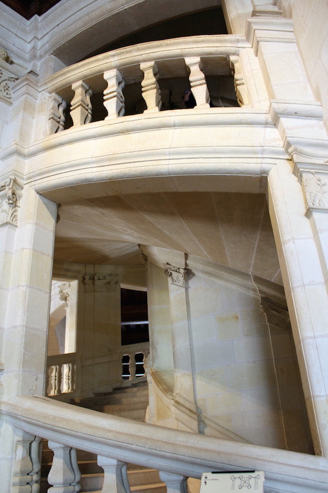 Double spiral staircase in the castle of Chambord