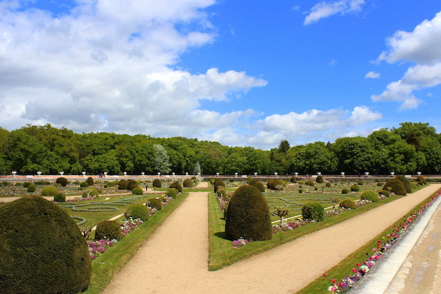 The gardens of the castle of Chenonceau in the Loire valley in France