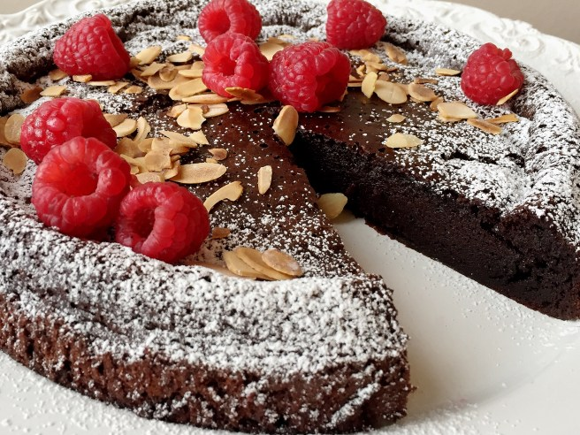 Flourless Chocolate Cake with Raspberries & Toasted Almonds