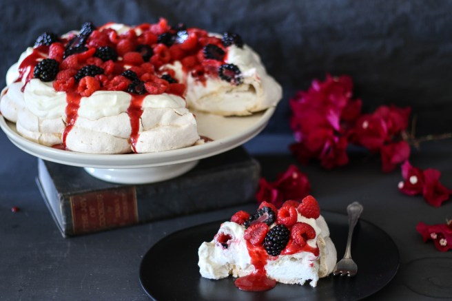 Rose water pavlova with whipped cream & boozy berries | The Secret Life of Bee