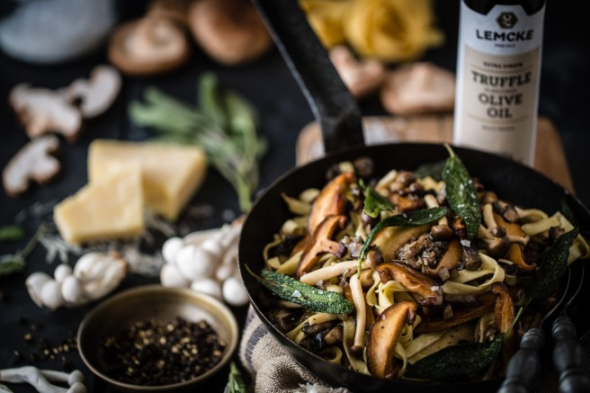 mushroom ragù tagliatelle with truffle oil | The Secret Life of Bee