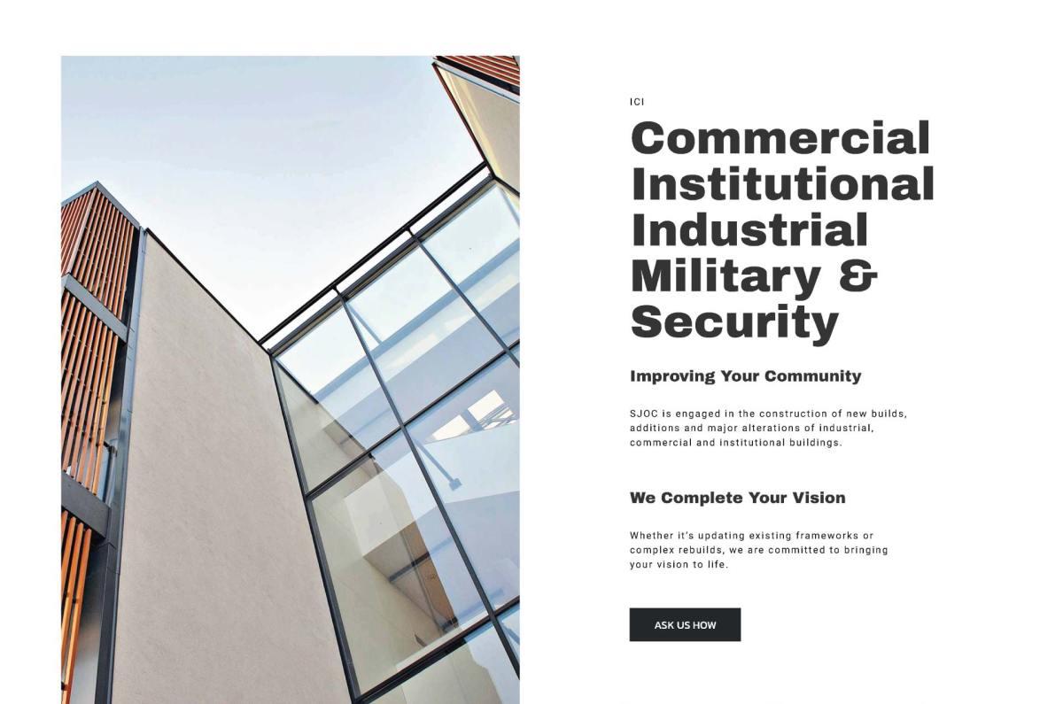 SJOC Construction Inc. Commercial Web Design - thesecretservice