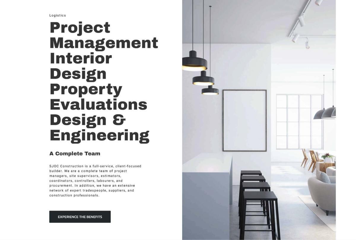 SJOC Construction Inc. Project Management Web Design - thesecretservice