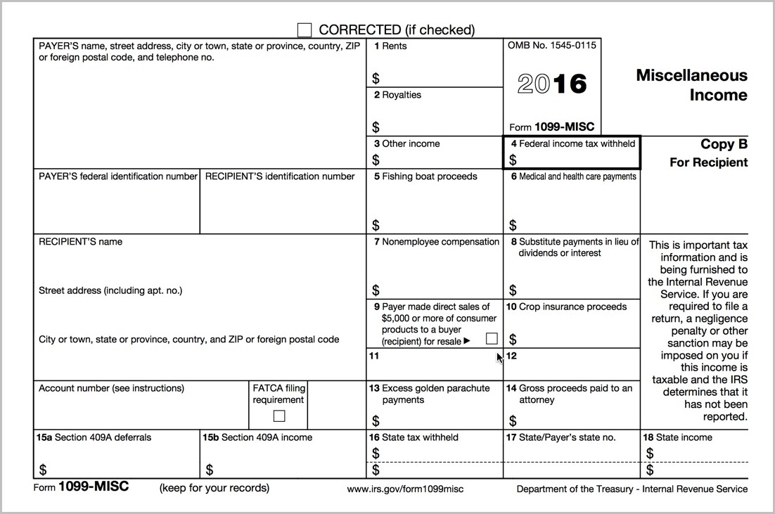 1099 Misc Form 2015