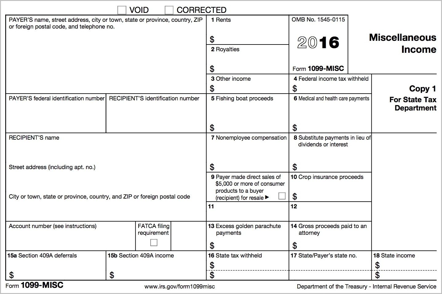 1099 Misc Form 2016 Fillable