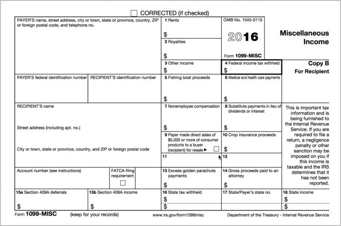 1099 Misc Form 2016 Irs