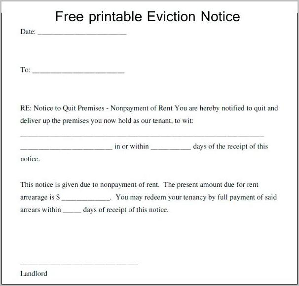 30 Day Eviction Notice Template Arizona