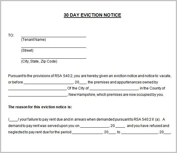 30 Eviction Notice Template