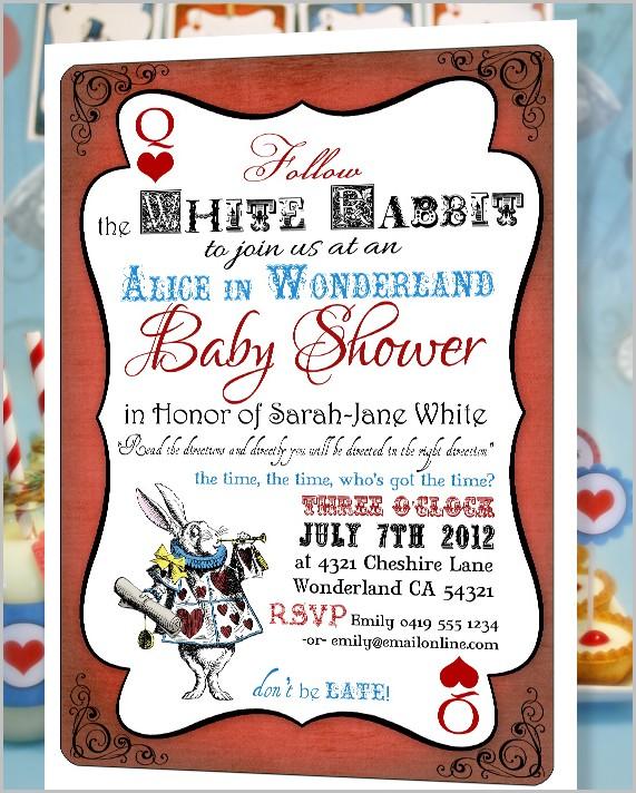 Alice In Wonderland Baby Shower Invitation Template