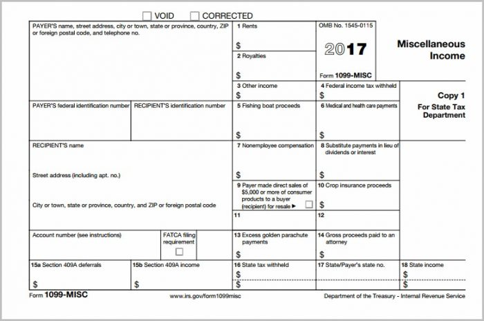 Blank 1099 Misc Form 2016