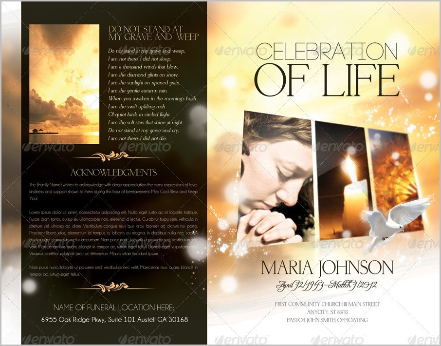 Celebration Of Life Funeral Program Template