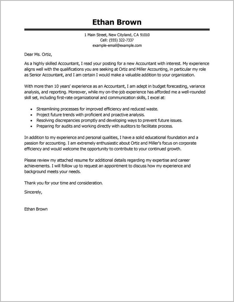 Cover Letter Template For Accounting Job