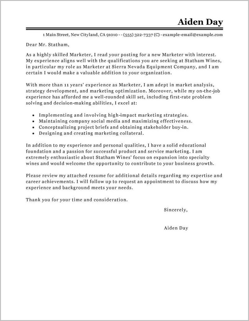 Cover Letter Template For Marketing Job