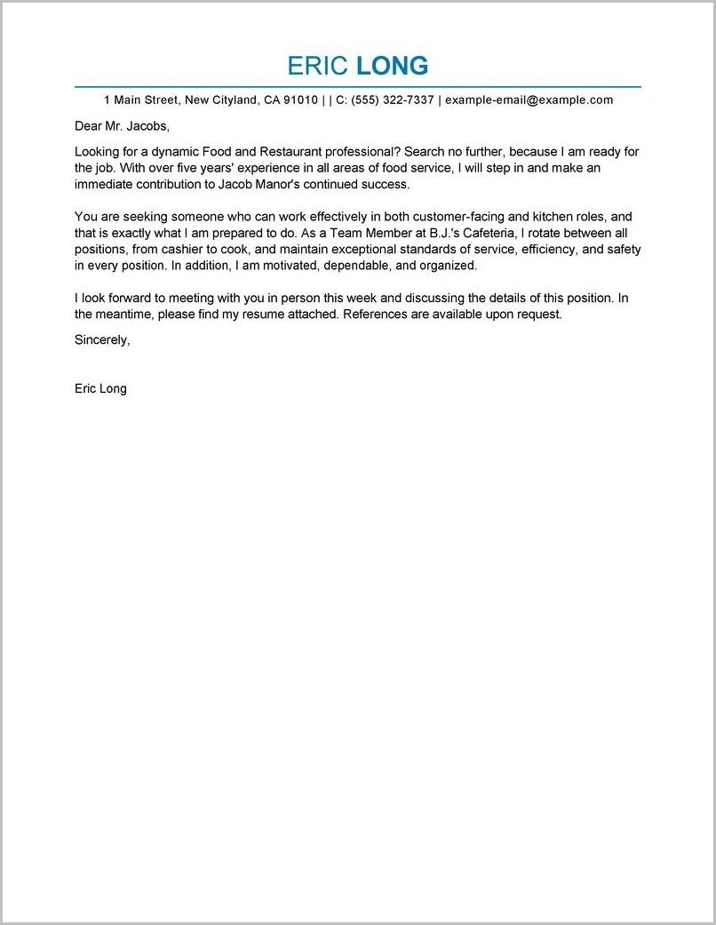 Cover Letter Template For Restaurant Job