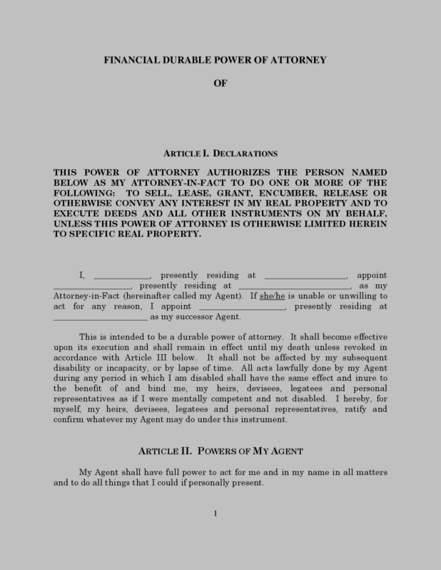 Durable Power Of Attorney Form District Of Columbia
