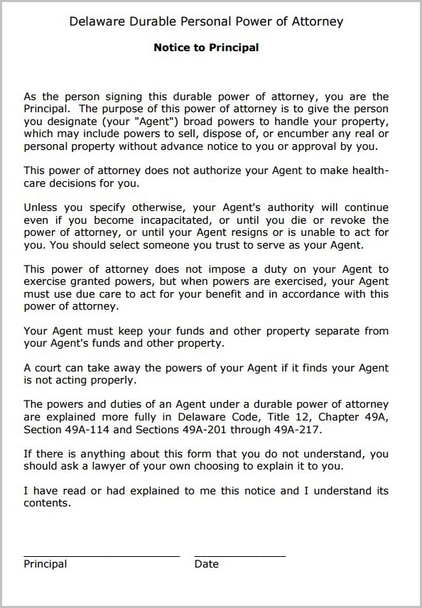 Durable Power Of Attorney Sample California