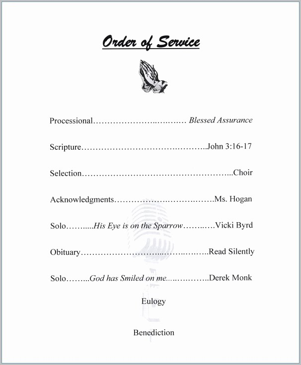 Editable Funeral Program Template