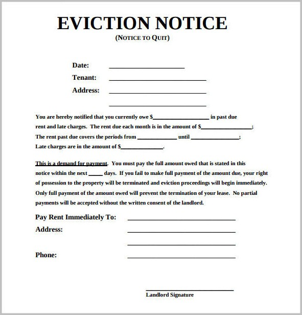 Eviction Notice Form Michigan