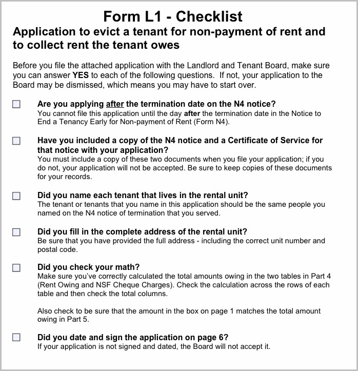 Eviction Notice Form Ontario