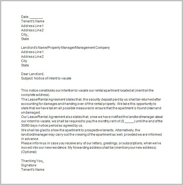 Eviction Notice From Landlord To Tenant Template