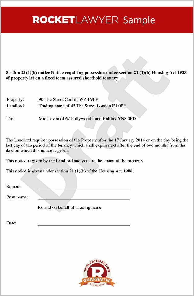 Eviction Notice Section 21 Template