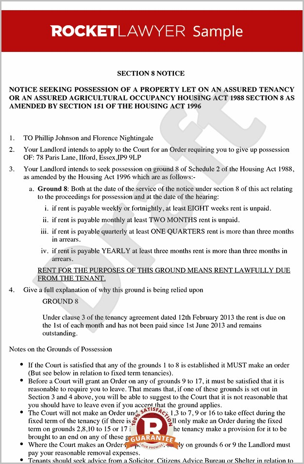 Eviction Notice Section 8 Template