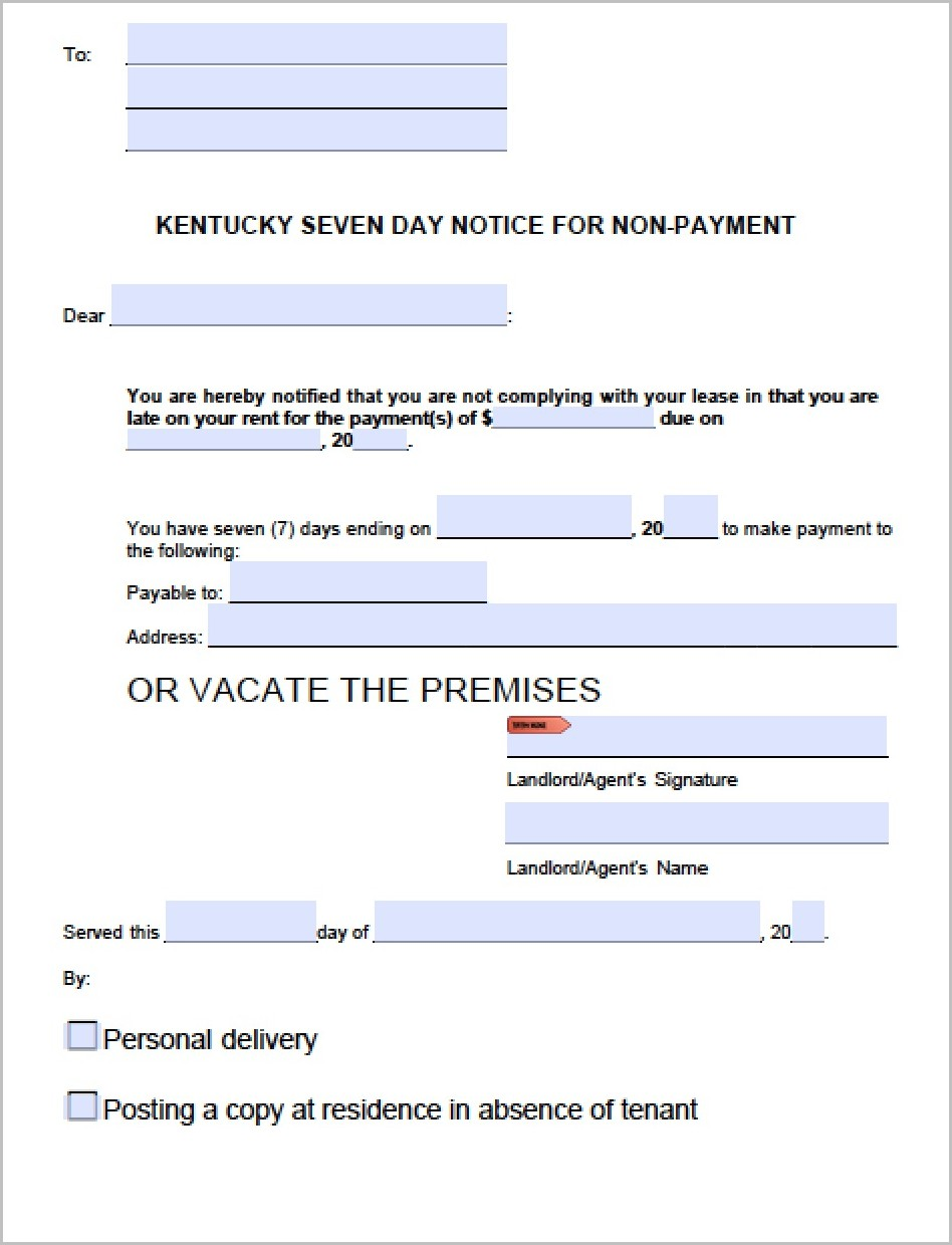 Eviction Notice Template Ky