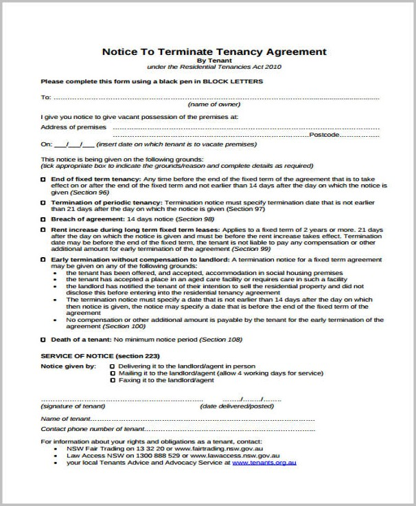 Eviction Notice Template Nsw