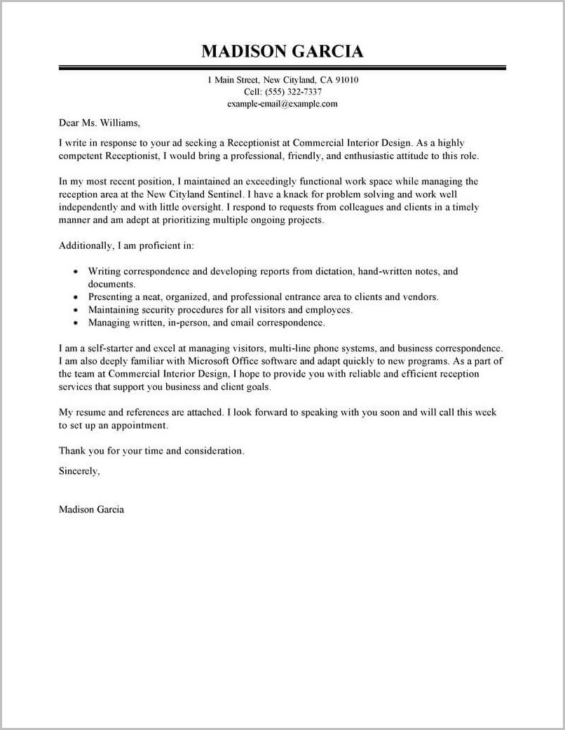 Example Of Cover Letter For Receptionist Resume