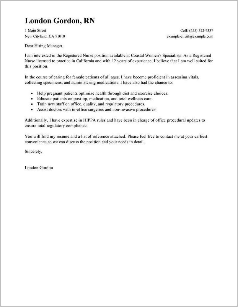 Example Of Cover Letter For Rn Resume