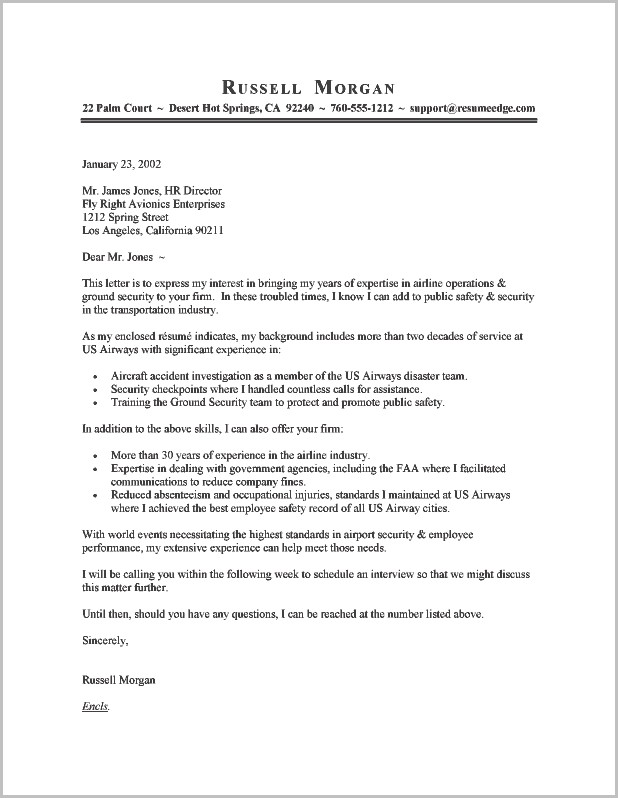 Example Resume Cover Letter Template