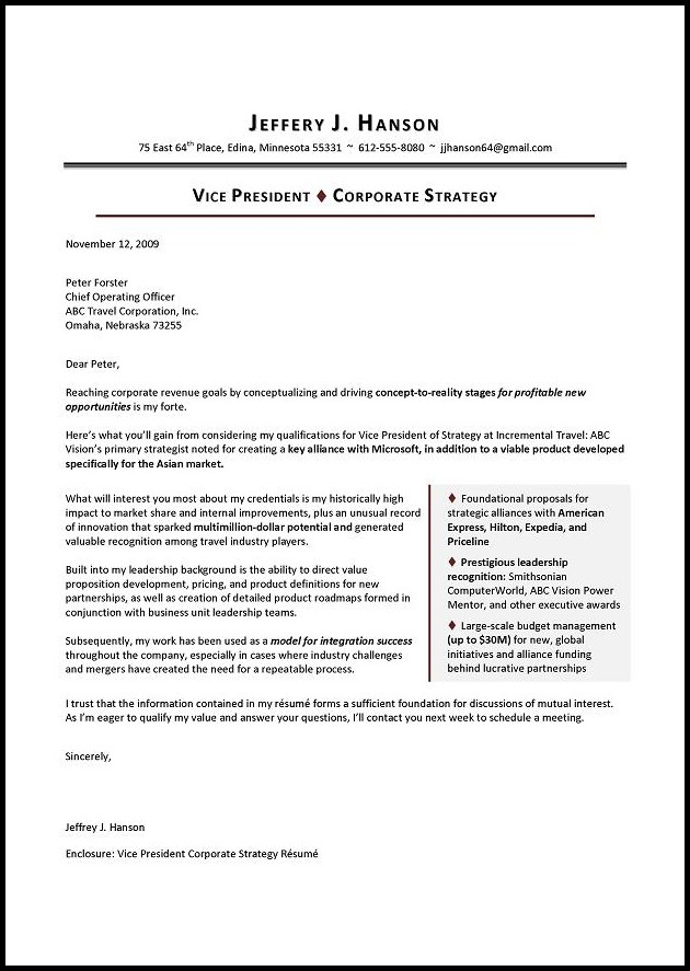 Executive Resume Cover Letter Template